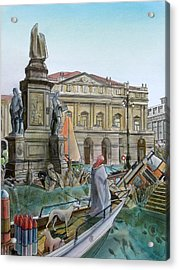 City Of Milan In Italy Under Water Acrylic Print by Fabrizio Cassetta