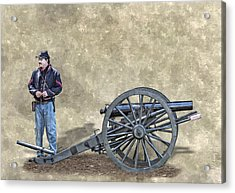Civil War Union Artillery Corporal With Cannon Acrylic Print by Randy Steele
