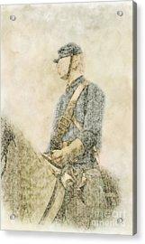 Civil War Union Cavalry Trooper Acrylic Print by Randy Steele