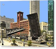 Clark Street Bridge Chicago - A Contrast In Time Acrylic Print