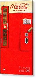 Classic Coke Dispenser Machine . Type 2 . Long Cut Acrylic Print by Wingsdomain Art and Photography