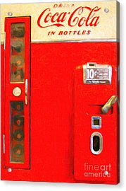 Classic Coke Dispenser Machine . Type 2 Acrylic Print by Wingsdomain Art and Photography