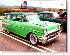 Classic Green Chevrolet Stationwagon . 7d15213 Acrylic Print by Wingsdomain Art and Photography