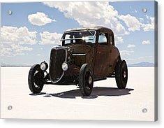 Classic Hotrod On Utah Salt Flats. Acrylic Print by Paul Edmondson