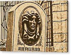 Classic Leota Moving Eyes Headstone Haunted Mansion Magic Kingdom Walt Disney World Prints Rustic Acrylic Print by Shawn O'Brien