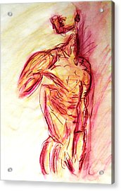 Classic Muscle Male Nude Looking Over Shoulder Sketch In A Sensual Primal Erotic Timeless Master Art Acrylic Print