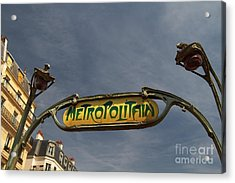 Acrylic Print featuring the photograph Classic Paris Metro Sign by Kim Wilson