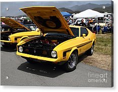 Classic Yellow Ford Mustang Mach 1 7d15277 Acrylic Print by Wingsdomain Art and Photography