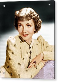 Claudette Colbert, Ca. 1939 Acrylic Print by Everett