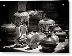 Clay Pots Black And White Acrylic Print
