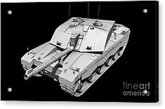 Clay Render Of A Challenger II Tank Acrylic Print by Rhys Taylor
