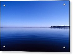 Clear Blue Sky Reflected In A Still Acrylic Print by Jason Edwards