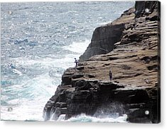 Acrylic Print featuring the photograph Cliff Fishing by Elizabeth  Doran