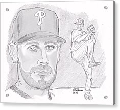 Acrylic Print featuring the drawing Cliff Lee by Chris  DelVecchio