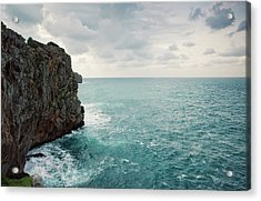 Cliff Line And Stormy Mediterranean Sea Acrylic Print by Guido Mieth