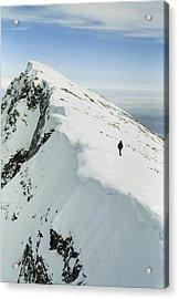 Climber Approaches False Summit Acrylic Print by Gordon Wiltsie