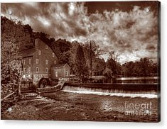 Clinton Red Mill House Sepia Acrylic Print by Lee Dos Santos