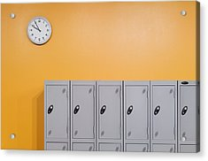 Clock On An Orange Wall Above Lockers Acrylic Print