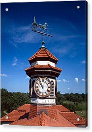 Clock Tower And Weathervane, Longview Acrylic Print by Everett