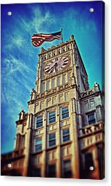 Acrylic Print featuring the photograph Clock Tower In Downtown Jackson 1 by Jim Albritton