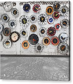 Clocks On The Wall Acrylic Print by Setsiri Silapasuwanchai