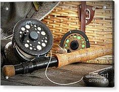 Close-up Fly Fishing Rod  Acrylic Print by Sandra Cunningham