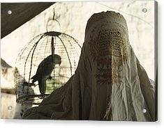 Close-up Of A Woman And A Parakeet - Acrylic Print by James L. Stanfield
