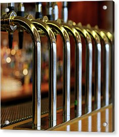 Close-up Of Bar Taps Acrylic Print by Stockbyte