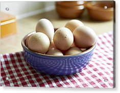 Close Up Of Bowl Of Eggs Acrylic Print by Debby Lewis-Harrison