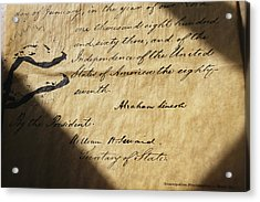 Close-up Of Emancipation Proclamation Acrylic Print by Todd Gipstein