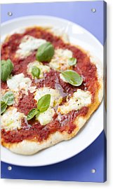 Close Up Of Pizza With Herbs And Cheese Acrylic Print by Brigitte Sporrer