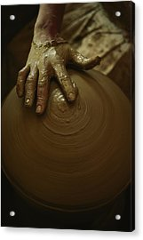 Close-up Of The Brown Muddy Hand Acrylic Print by Thomas J. Abercrombie