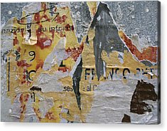 Close-up Of Torn Posters On A Wall Acrylic Print by Todd Gipstein