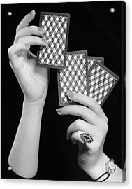 Close-up Of Woman's Hands W/playing Cards Acrylic Print by George Marks