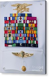 Close-up View Of Military Decorations Acrylic Print by Michael Wood