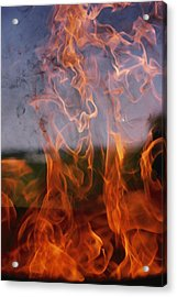 Close View Of Fire Acrylic Print by Brian Gordon Green