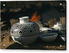 Close View Of Pueblo Indian Pottery Acrylic Print by Ira Block