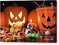 Closeup Of Candies With Pumpkins  Acrylic Print by Sandra Cunningham