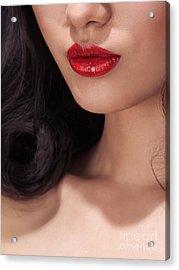 Closeup Of Woman Red Lips Acrylic Print by Oleksiy Maksymenko