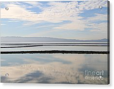 Cloud Reflections On Salt Marsh At Coyote Hills Regional Preserve California . 7d10968 Acrylic Print by Wingsdomain Art and Photography