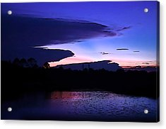 Acrylic Print featuring the photograph Clouded Sunset Over The Tomoka by DigiArt Diaries by Vicky B Fuller