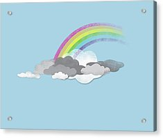 Clouds And A Rainbow Acrylic Print