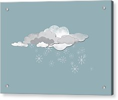 Clouds And Snowflakes Acrylic Print