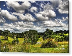 Clouds Floating Over Green Countryside Acrylic Print by Kaye Menner