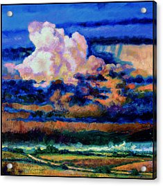 Clouds Over Country Road Acrylic Print by John Lautermilch
