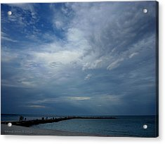 Clouds Over The Jetty Acrylic Print by Grace Dillon
