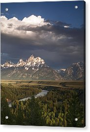 Clouds Over The Tetons Acrylic Print by Andrew Soundarajan