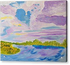 Acrylic Print featuring the painting Clouds' Reflections by Meryl Goudey