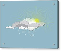 Clouds, Sun And Snowflakes Acrylic Print