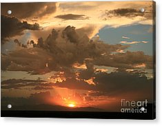 Cloudy Orange Sunset Acrylic Print by Cassandra Lemon
